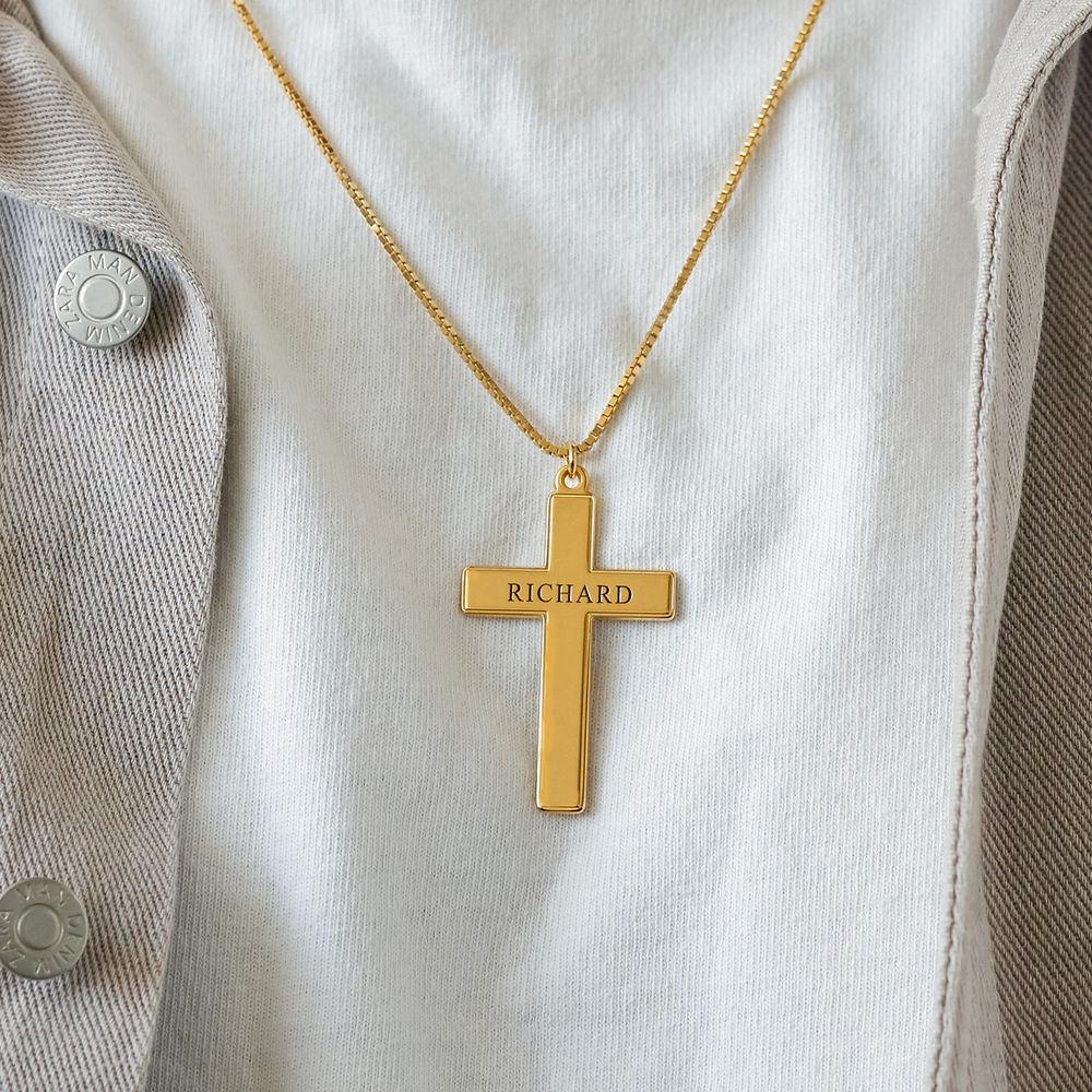Men's Engraved Cross Necklace in 18k Gold Plating - 2