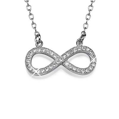 Heart Shaped Infinity Necklace with Cubic Zirconia