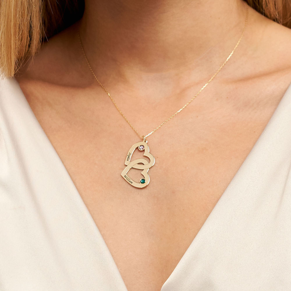 Heart in Heart Necklace with Birthstones - 10K Gold - 3