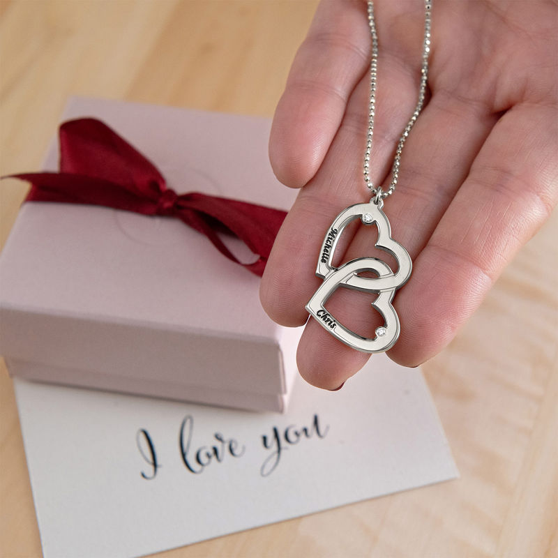 Heart in Heart Necklace in Silver with Diamonds - 3