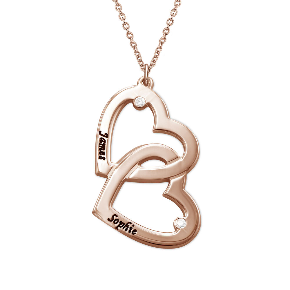 Heart in Heart Necklace in Rose Gold Plating with Diamonds