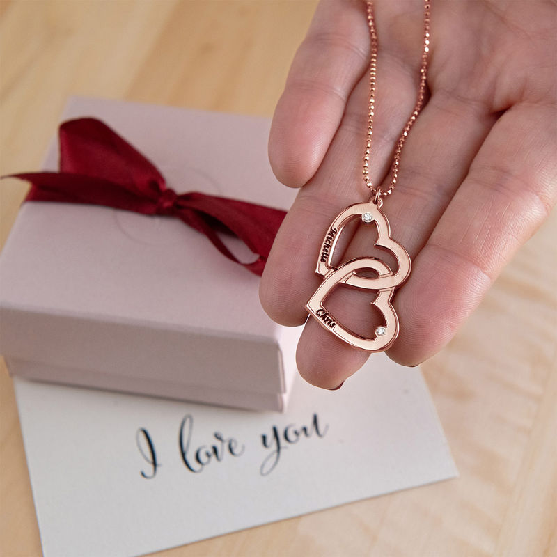 Heart in Heart Necklace in Rose Gold Plating with Diamonds - 3