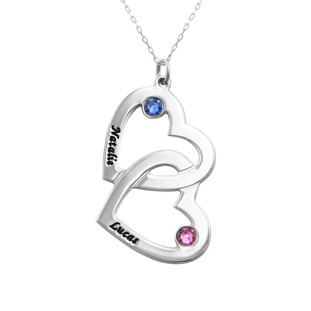 10k White Gold Heart in Heart Necklace with Birthstones
