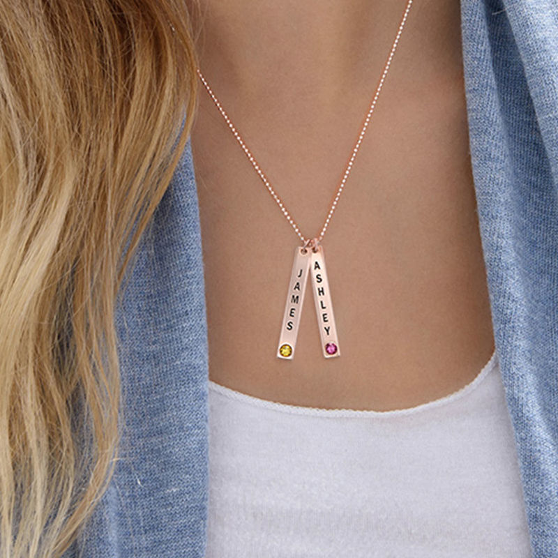 Vertical Bar Necklace with Birthstone in Rose Gold Plating - 2