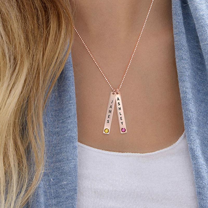 Vertical Bar Necklace with Swarovski in Rose Gold Plating - 2