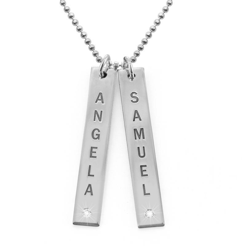 Vertical Sterling Silver Bar Necklace with Diamond