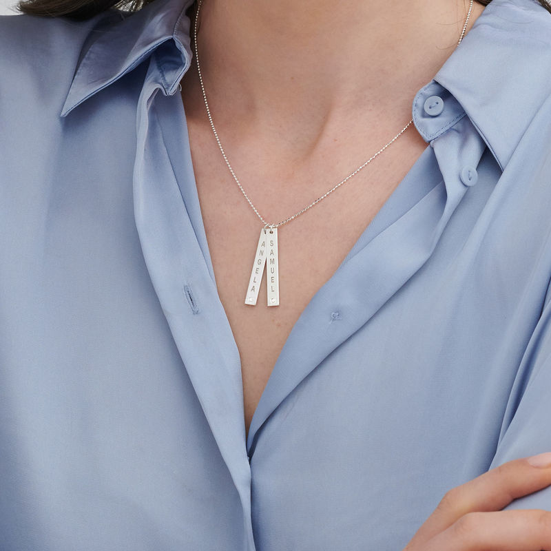 Vertical Sterling Silver Bar Necklace with Diamond - 2