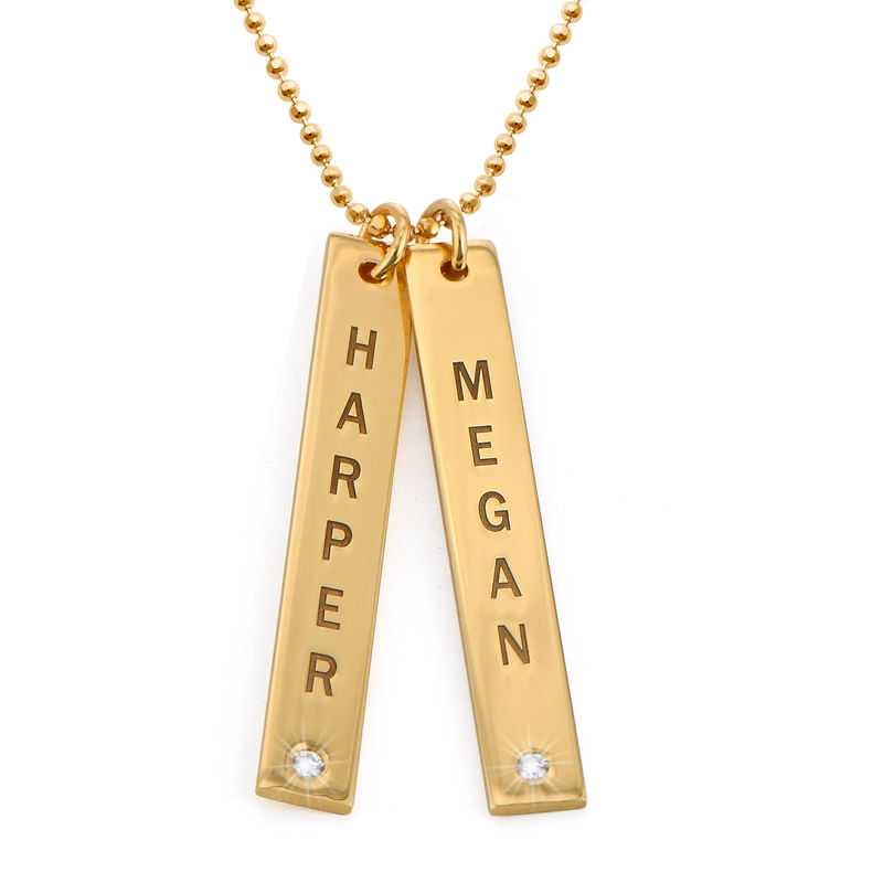 Gold Plated Vertical Bar Necklace with Diamond