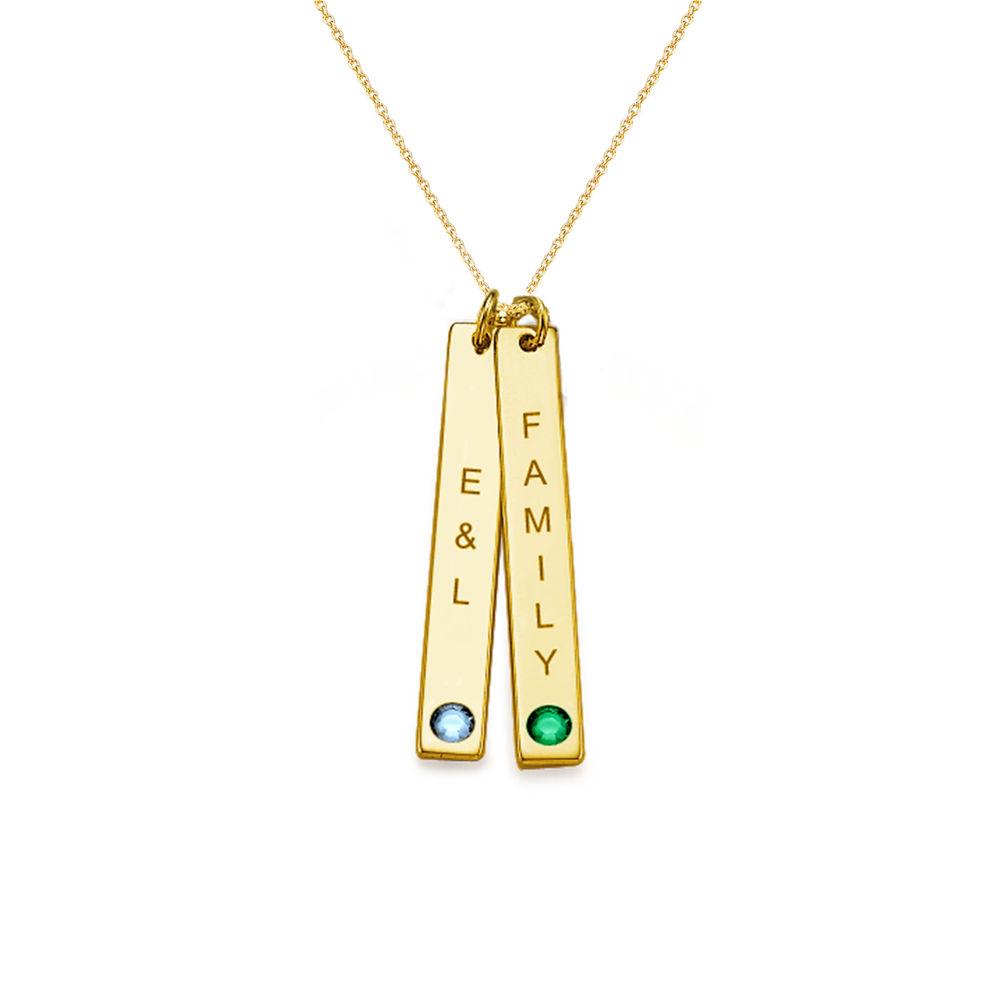 Swarovski Vertical Bar Necklace For Mothers in 18k Gold Vermeil - 1