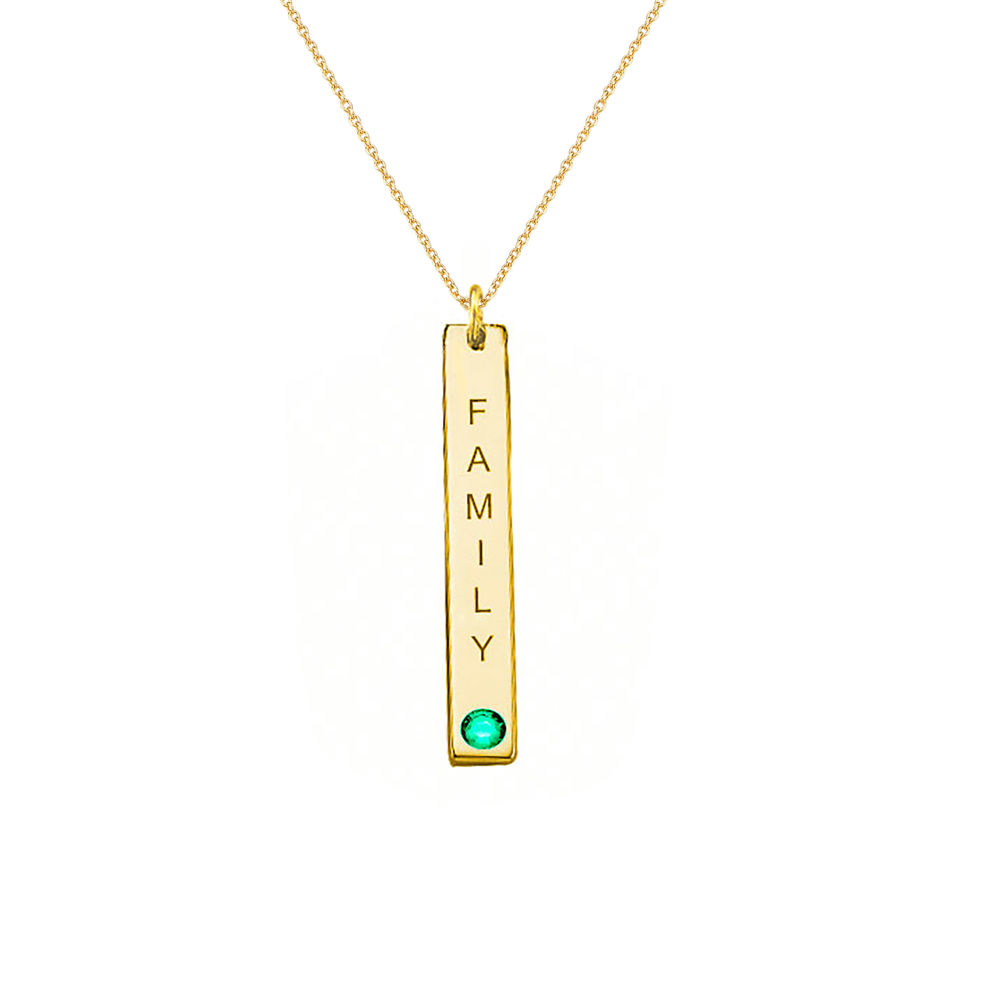 Swarovski Vertical Bar Necklace For Mothers in 18k Gold Vermeil - 2
