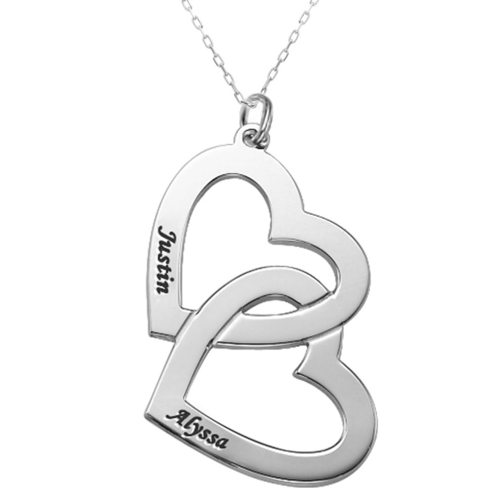 Heart in Heart Necklace in 10k White Gold