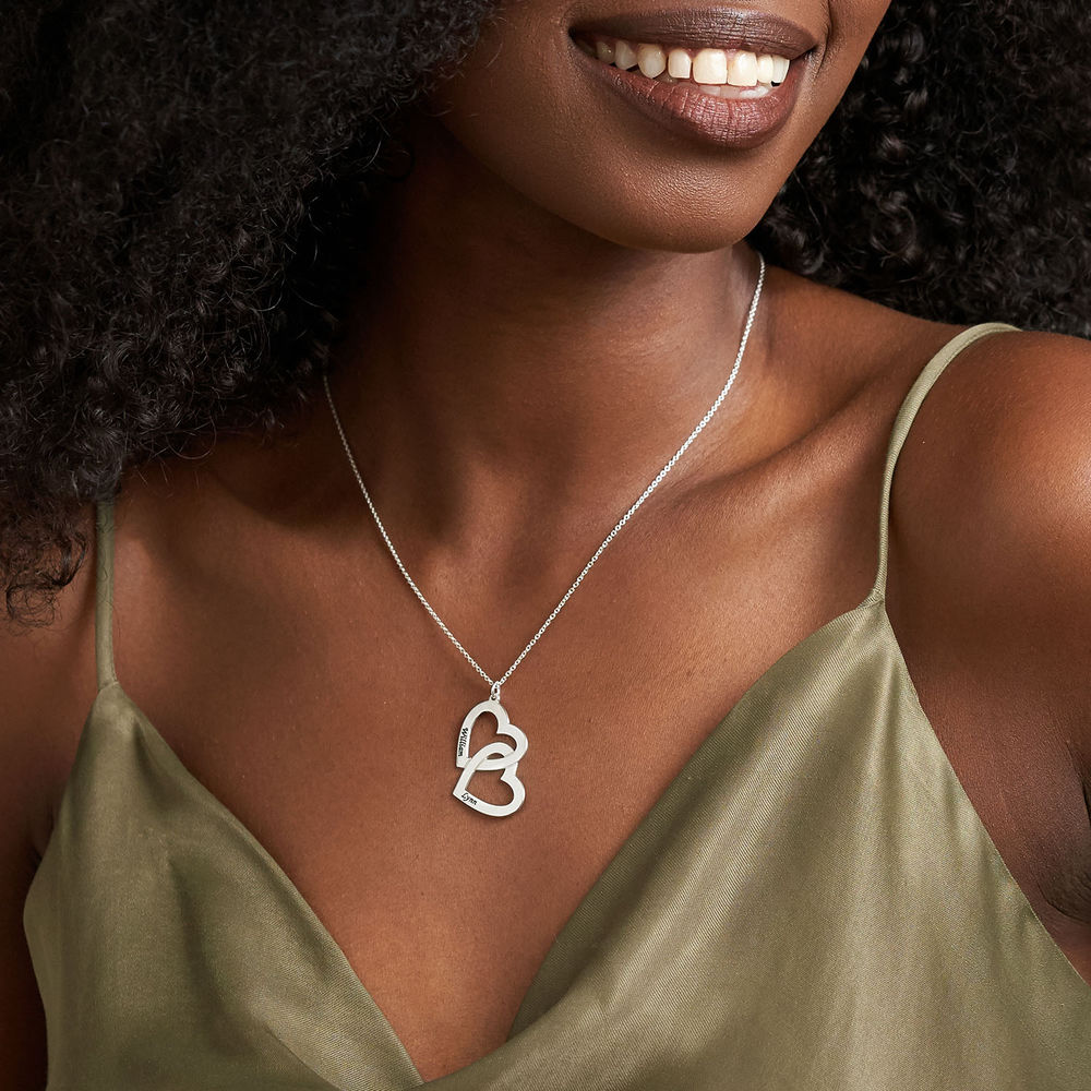 Heart in Heart Necklace in 10k White Gold - 1