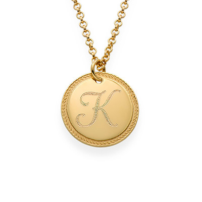 Gold Plated Circle Initial Necklace