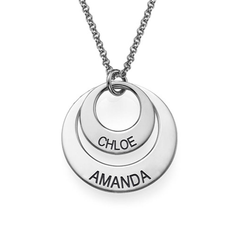 Personalized Jewelry for Moms - Disc Necklace in Sterling Silver - 2