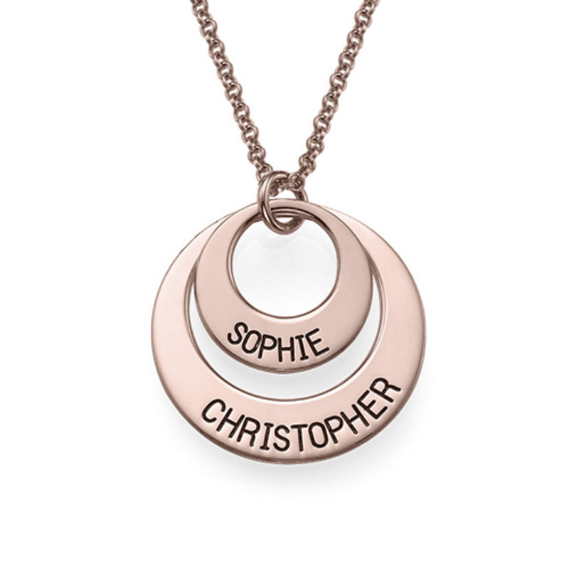 Personalized Jewelry for Moms - Disc Necklace in Rose Gold Plating