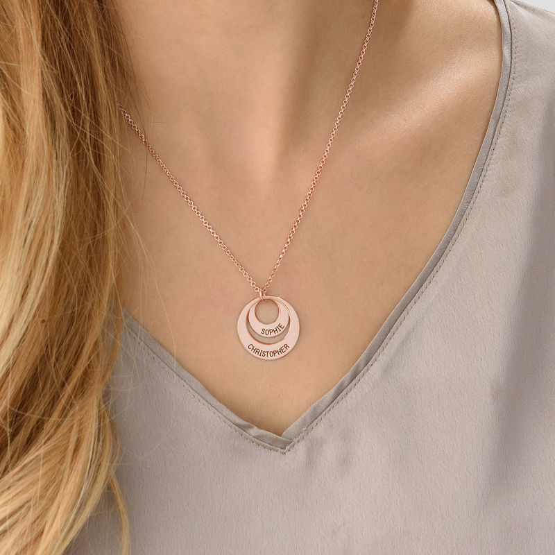 Personalized Jewelry for Moms - Disc Necklace in Rose Gold Plating - 5
