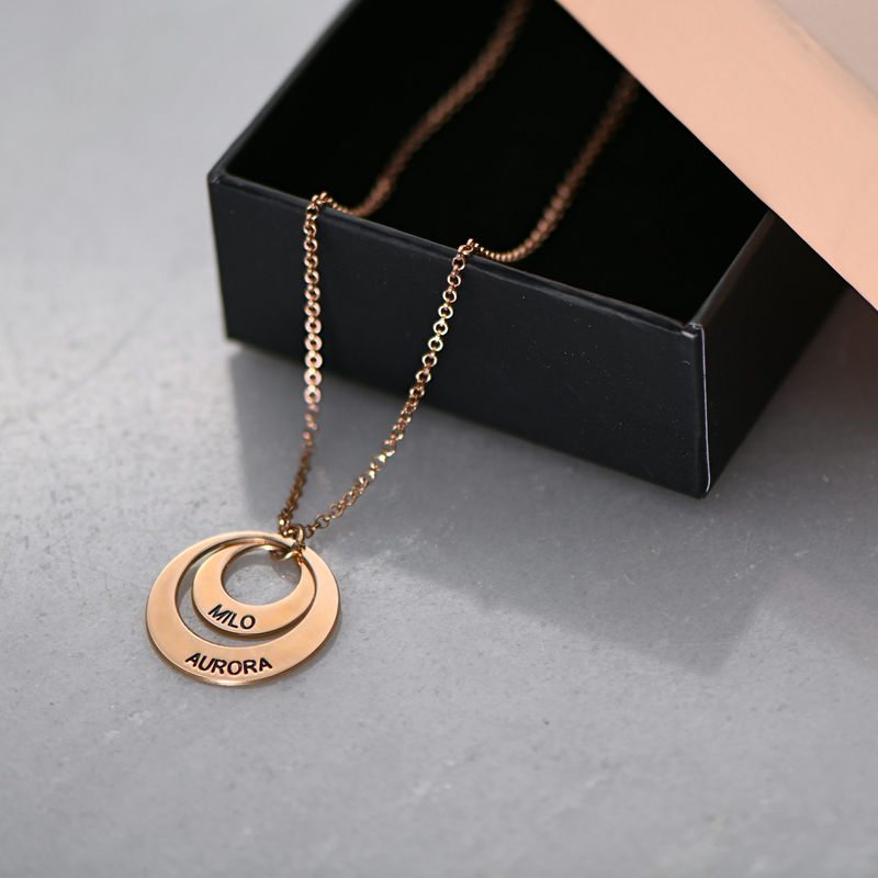 Personalized Jewelry for Moms - Disc Necklace in Rose Gold Plating - 6