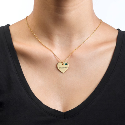 Gold Plated Engraved Heart Necklace with Birthstone - 1