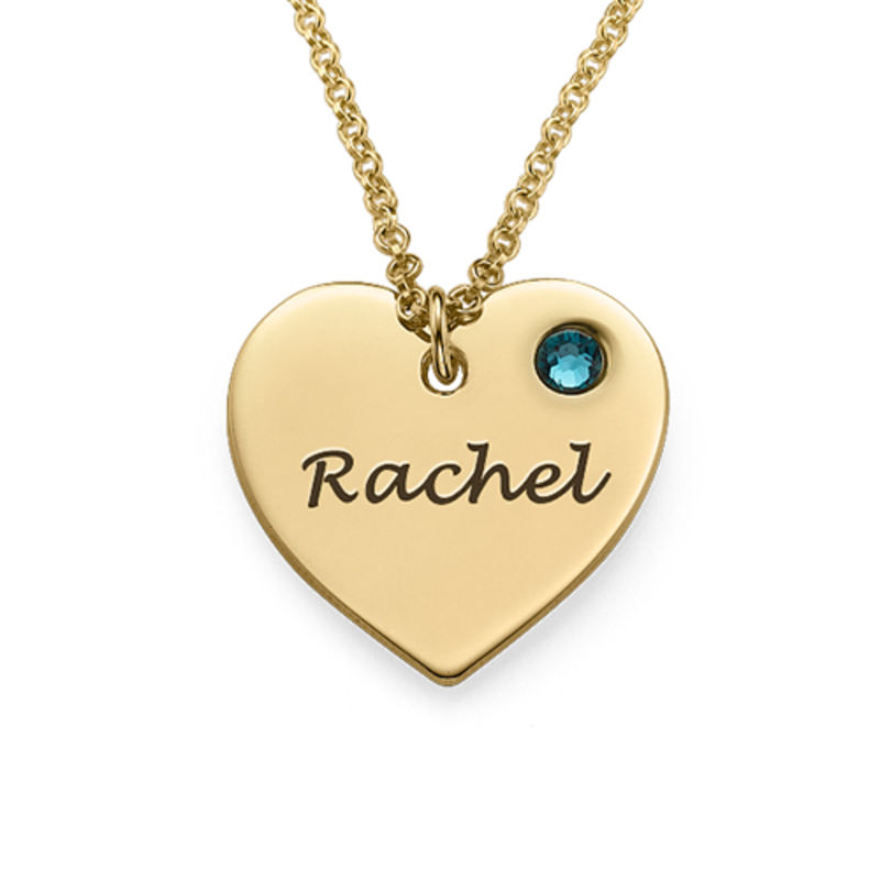 Engraved Heart Necklace with Birthstone in 18k Gold Vermeil