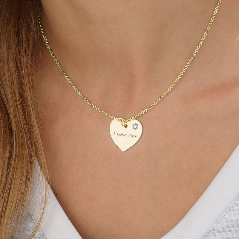 Engraved Heart Necklace with Birthstone in 18k Gold Vermeil - 1