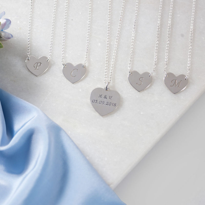 Initial Heart Necklace with Print Font - 1