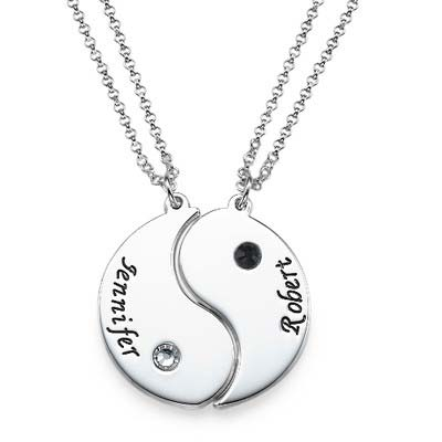 Engraved Yin Yang Necklace for Couples - 1