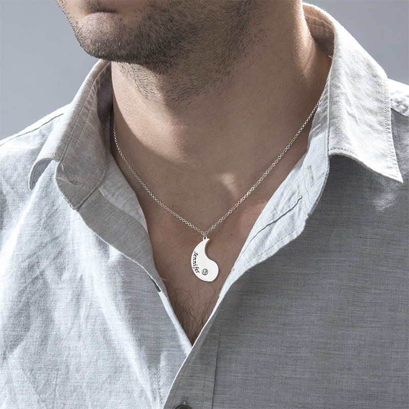 Engraved Yin Yang Necklace for Couples - 3
