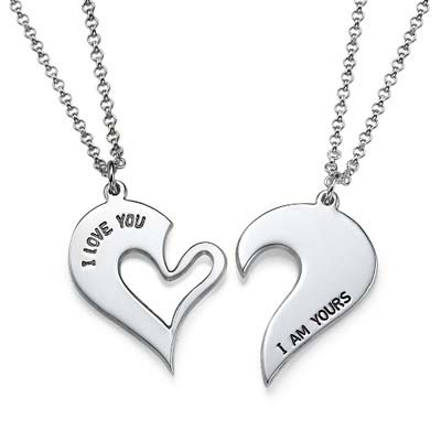Breakable Heart Necklace for Couples in Silver