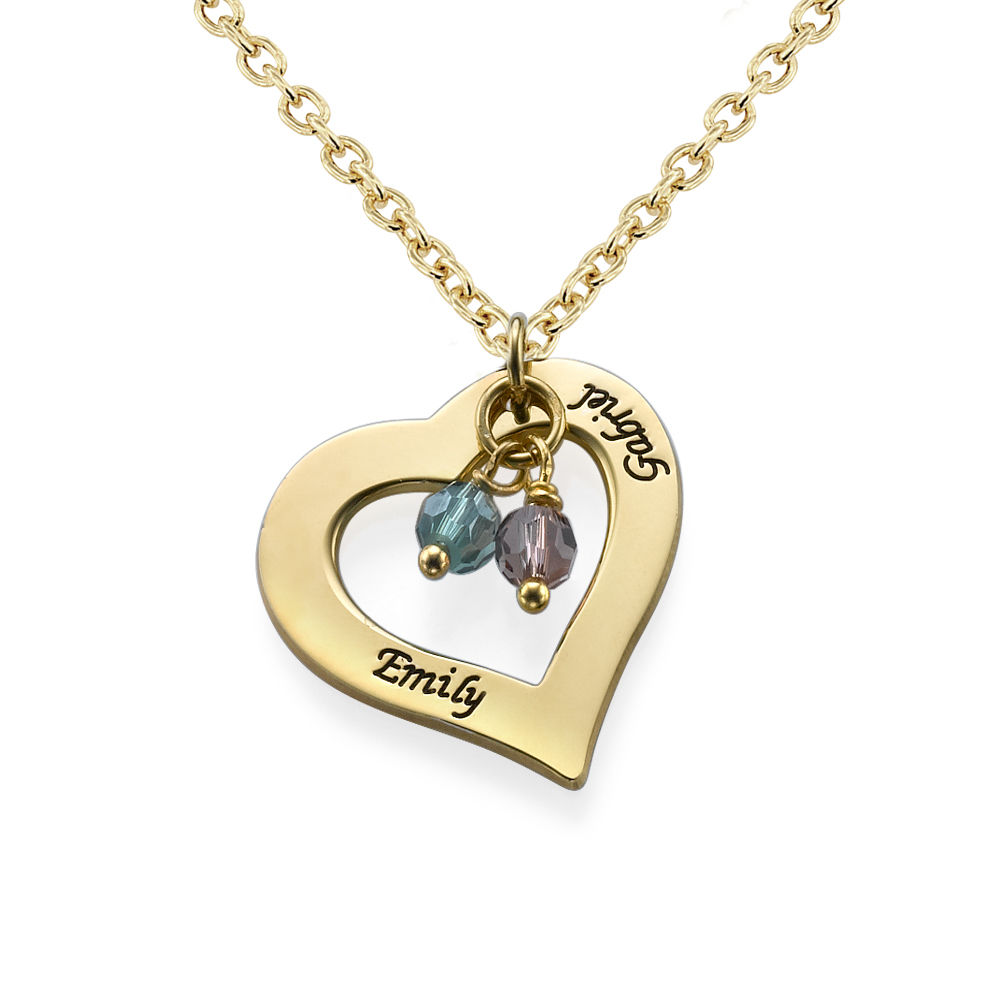 18k Gold Plated Engraved Necklace with Hollow Heart