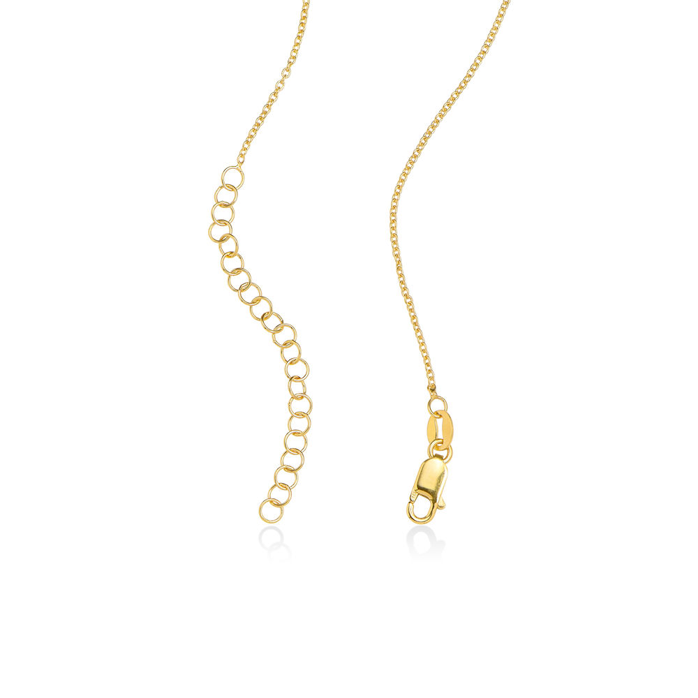 18k Gold Plated Engraved Necklace with Hollow Heart - 1
