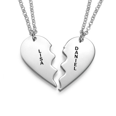 Broken Heart Necklace for Couples in Silver - 1