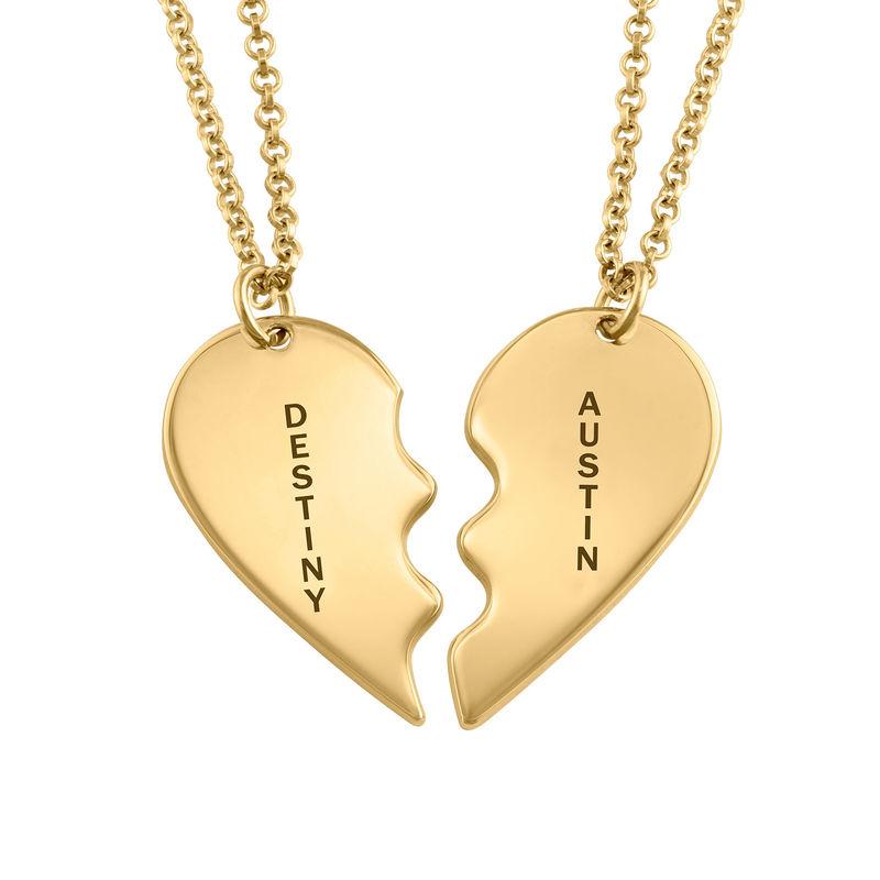 Broken Heart Necklace for Couples in 18k Gold Vermeil