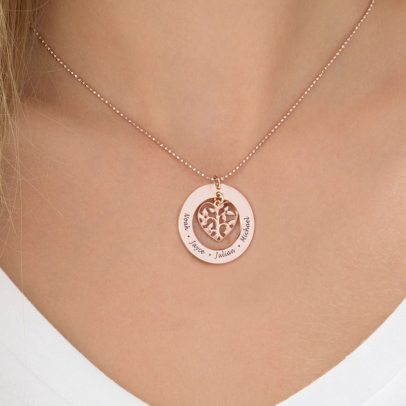 Heart Family Tree Necklace in 18k Rose Gold Plating - 2