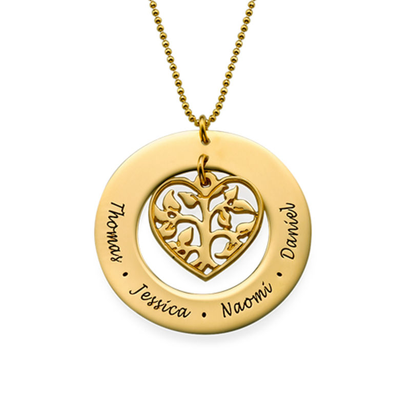 Heart Family Tree Necklace in Gold Vermeil