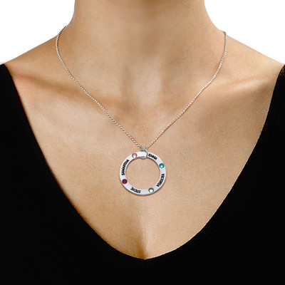 Engraved Birthstone Necklace for Mom - 1