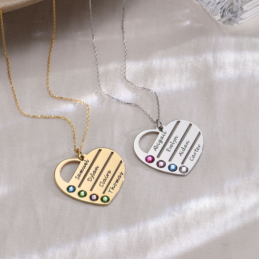 Birthstone Heart Necklace with Engraved Names in 10k Gold - 1