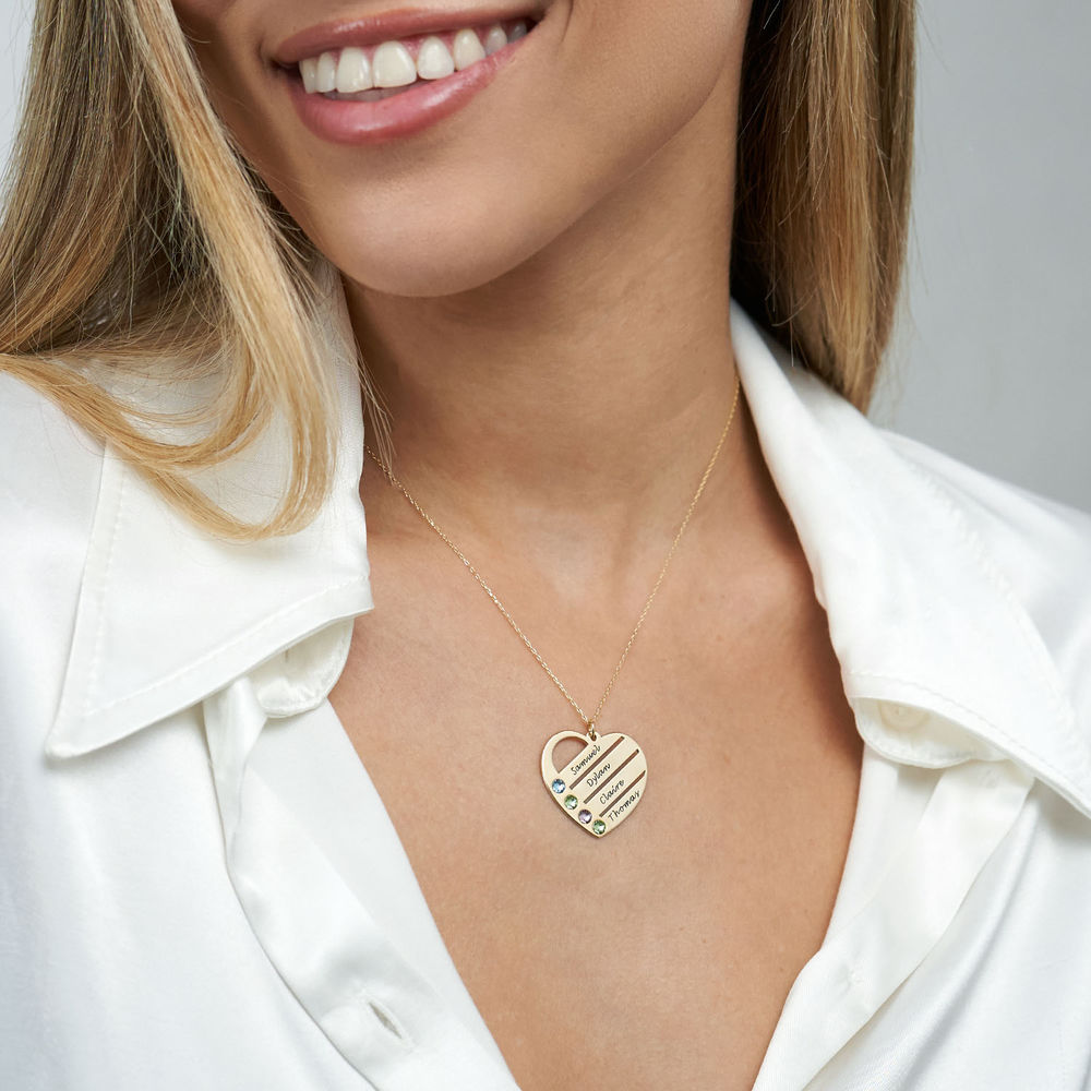 Birthstone Heart Necklace with Engraved Names in 10k Gold - 2