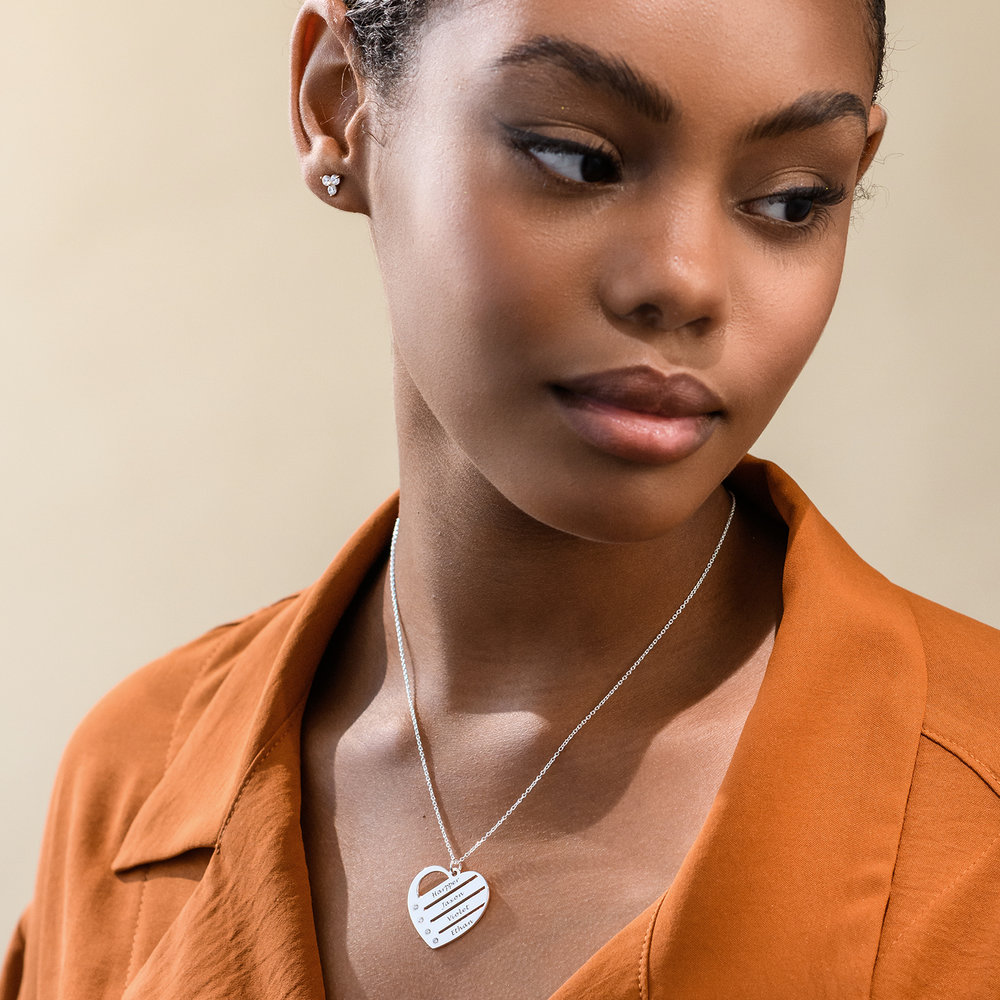 Heart Necklace with Engraved Names with Diamond in Sterling Silver - 2