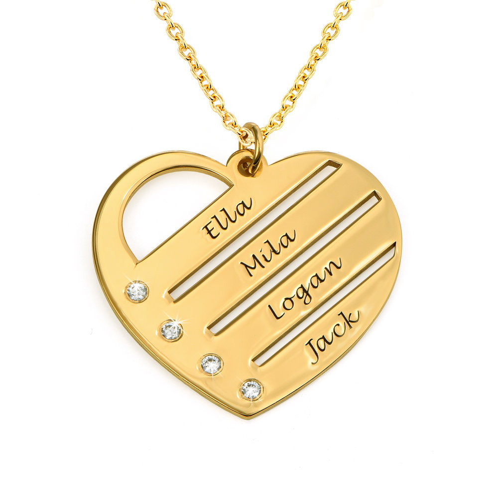 Heart Necklace with Engraved Names with Diamond in Gold Plating