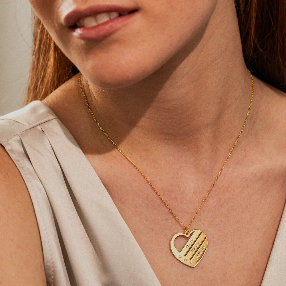 Heart Necklace with Engraved Names with Diamond in Gold Plating - 1