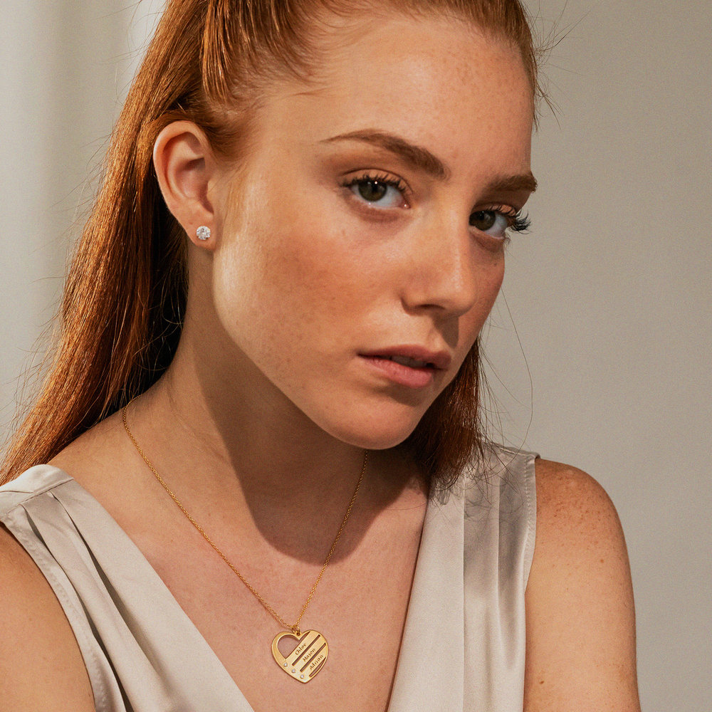 Heart Necklace with Engraved Names with Diamond in Gold Plating - 2