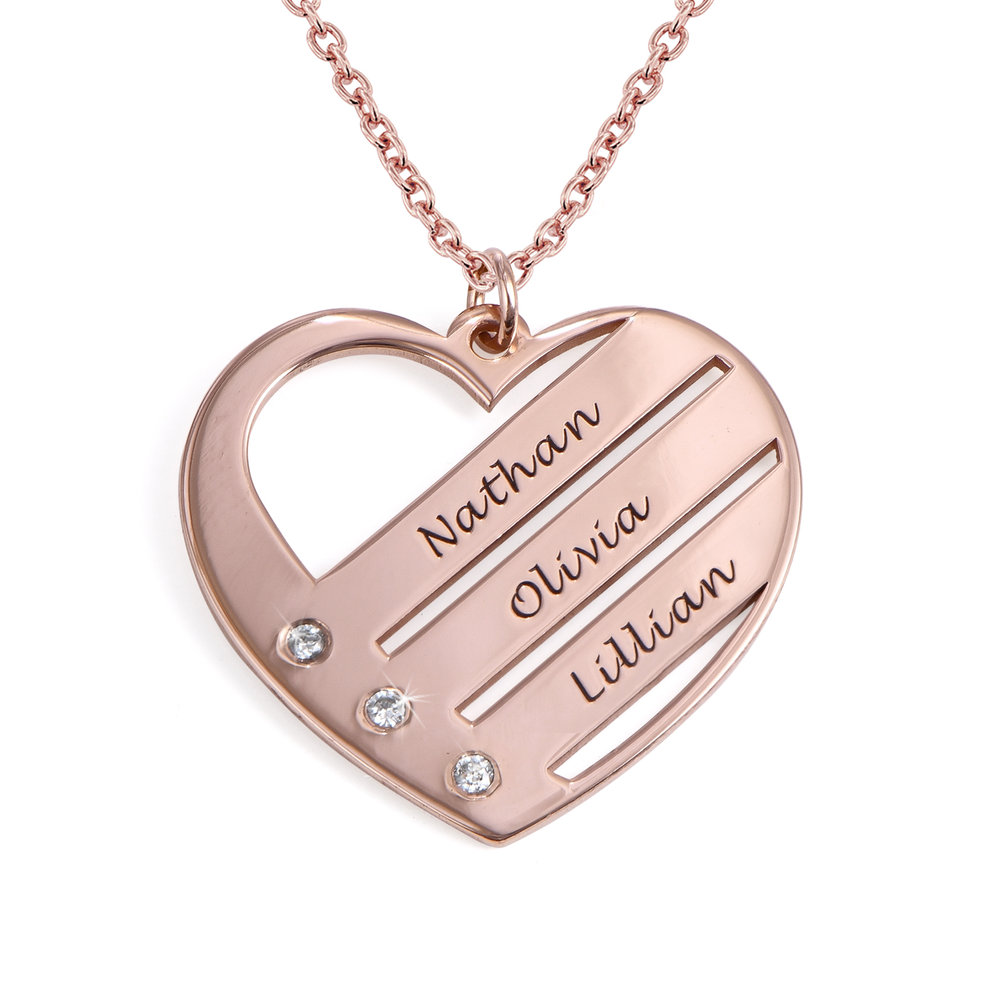Heart Necklace with Engraved Names with Diamond in Rose Gold Plating