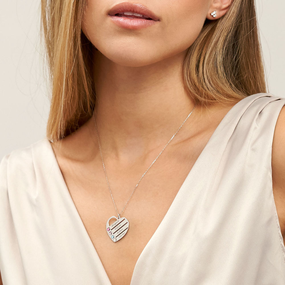 Birthstone Heart Necklace with Engraved Names in 10k White Gold - 2