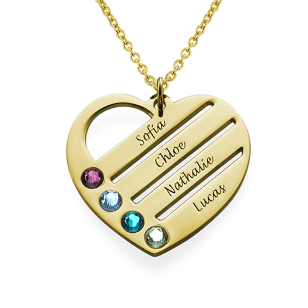 Birthstone Heart Necklace with Engraved Names - 18k Gold Vermeil