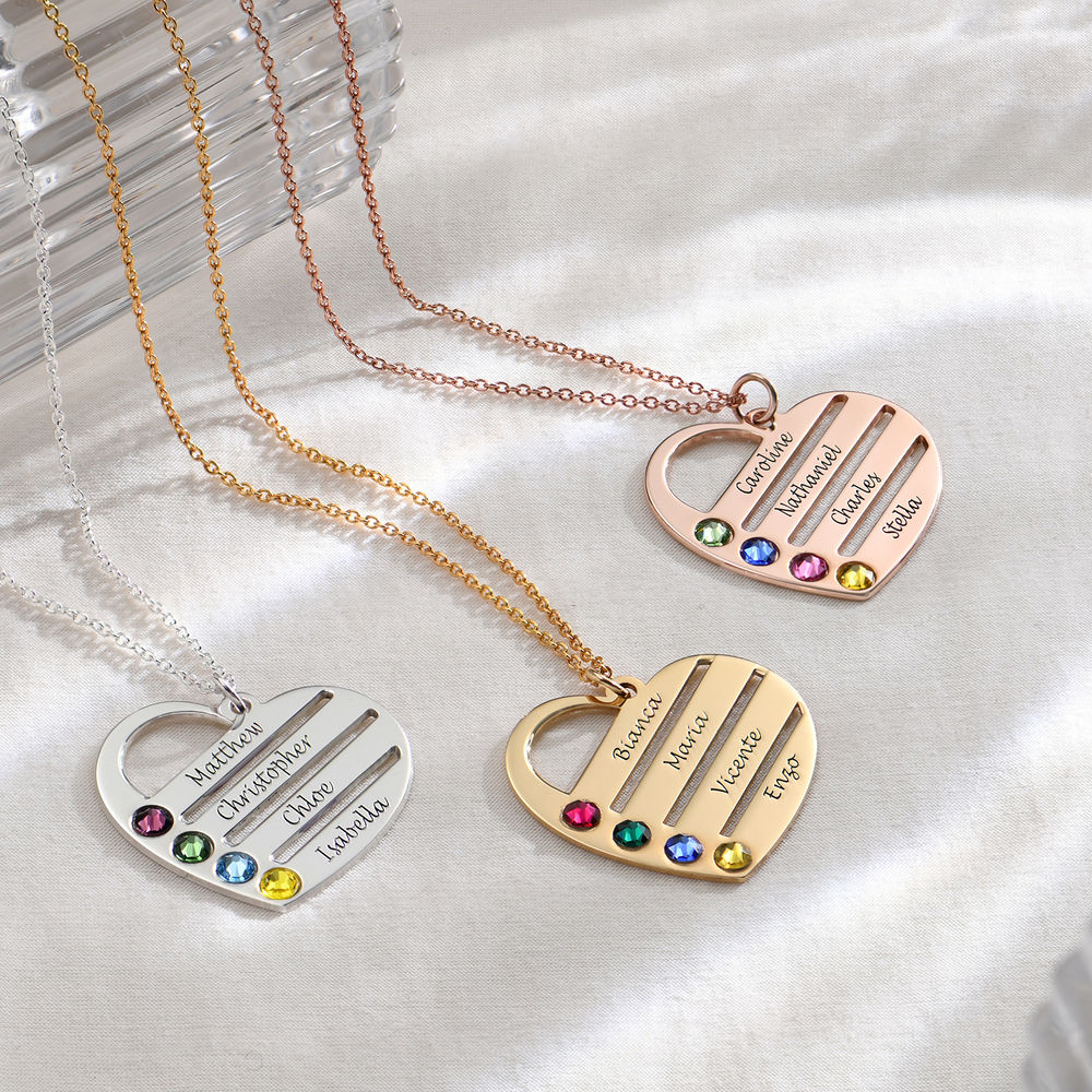 Birthstone Heart Necklace with Engraved Names - 18k Gold Vermeil - 1