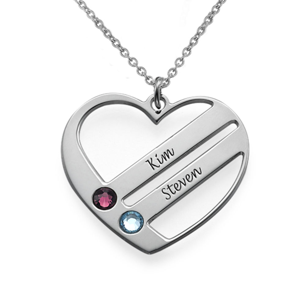 Family Heart Necklace with Birthstones in 940 Premium Silver