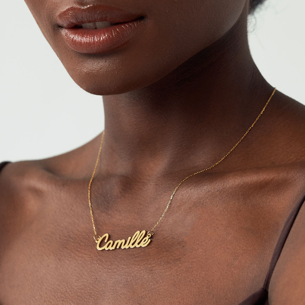 Personalized Cursive Name Necklace in 10K Yellow Gold - 1