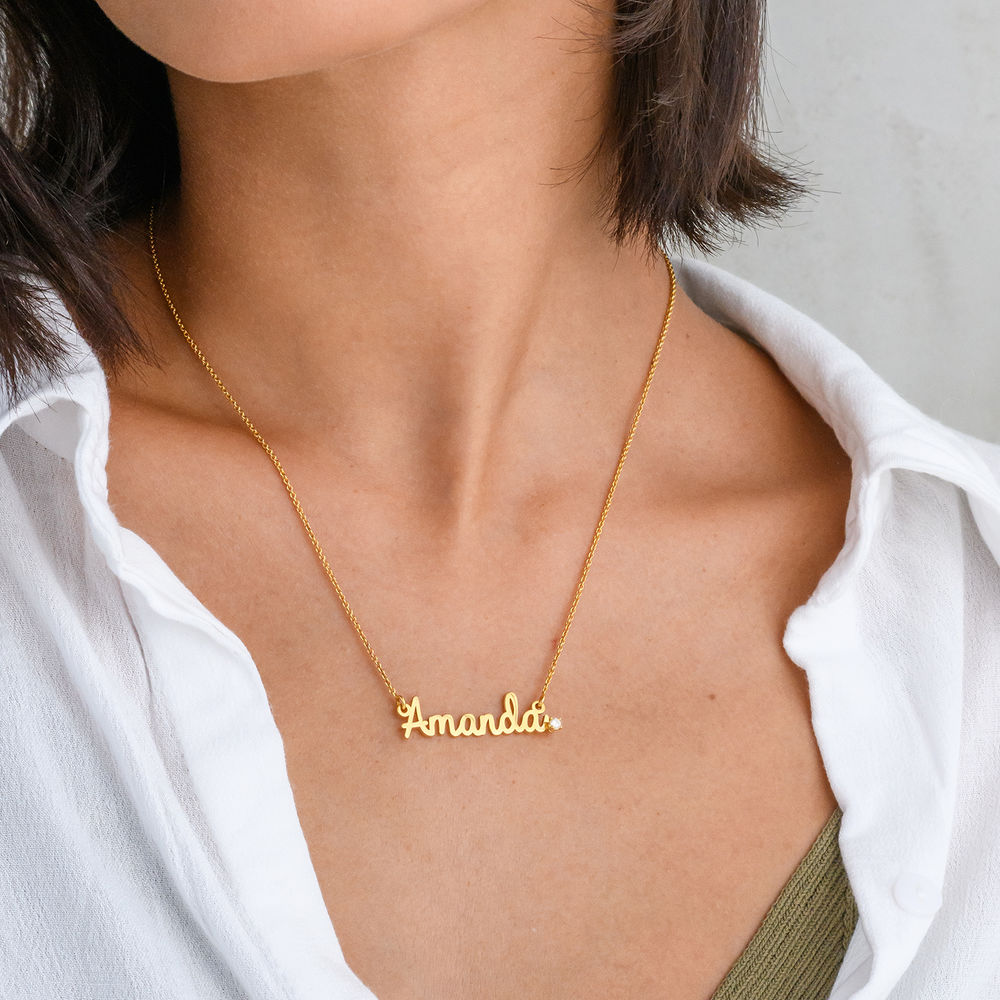 Cursive Name Necklace in Gold Plating with Diamond - 1