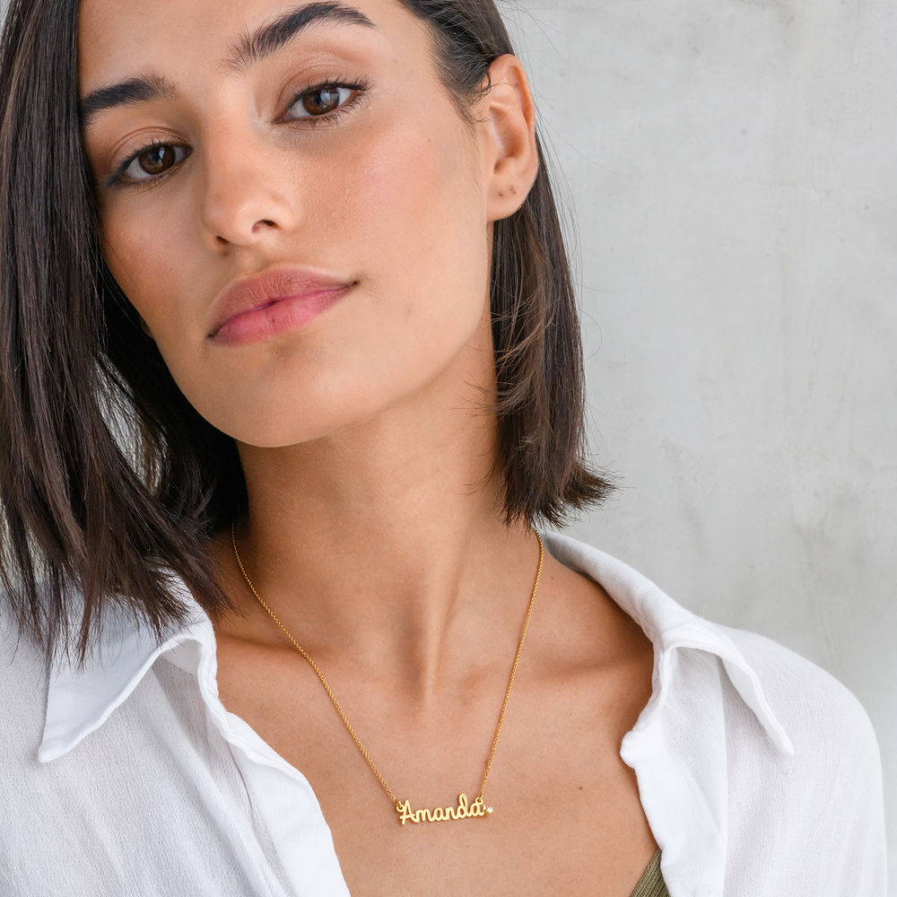 Cursive Name Necklace in Gold Plating with Diamond - 2