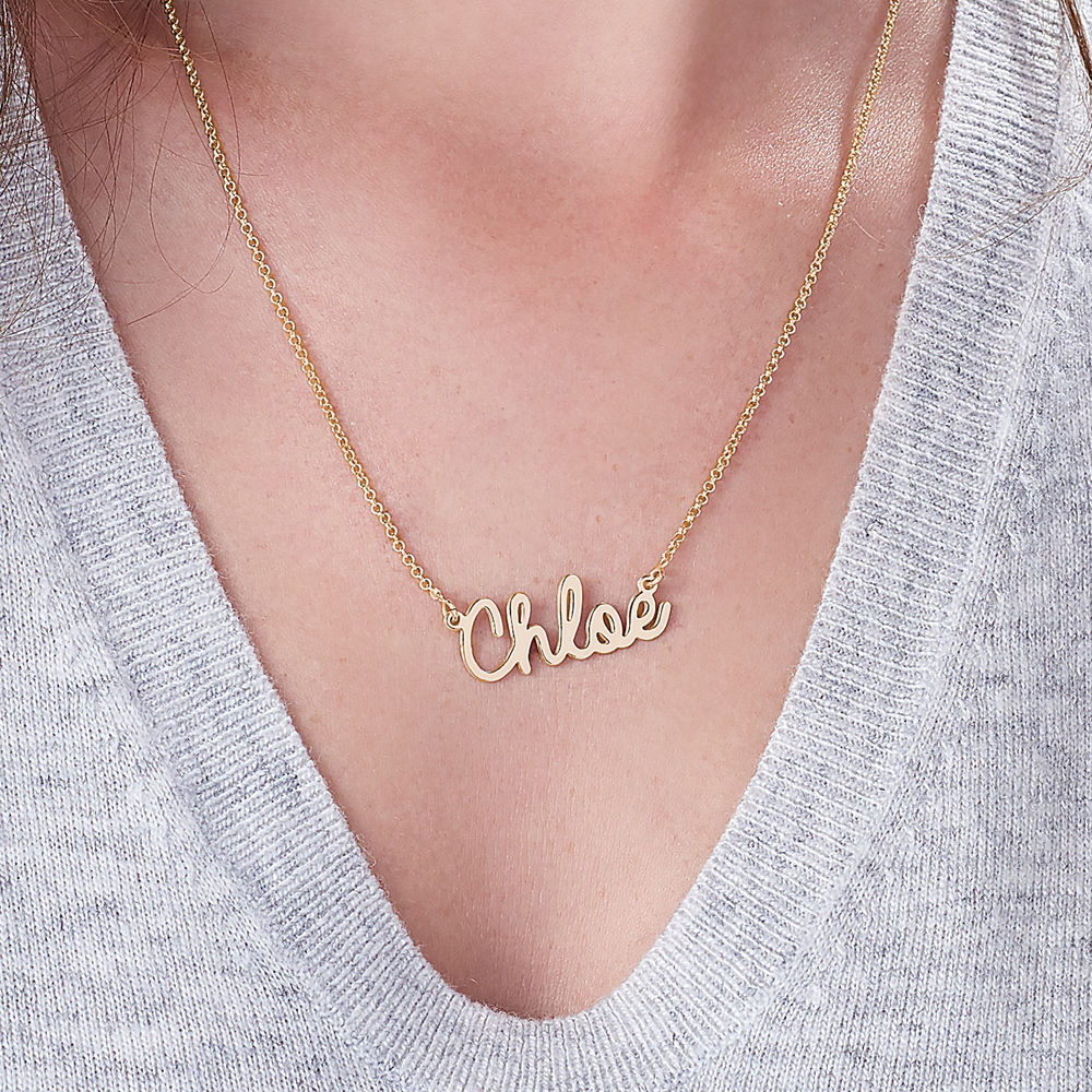 Personalized Jewelry - Cursive Name Necklace in Gold Vermeil - 2